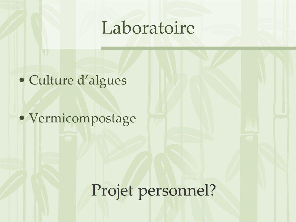 Laboratoire Culture dalgues Vermicompostage Projet personnel?