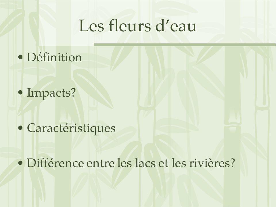 Les fleurs deau Définition Impacts? Caractéristiques Différence entre les lacs et les rivières?