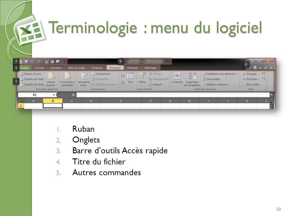 Terminologie : menu du logiciel 1. Ruban 2. Onglets 3. Barre doutils Accès rapide 4. Titre du fichier 5. Autres commandes 1 1 2 2 3 3 4 4 5 5 10