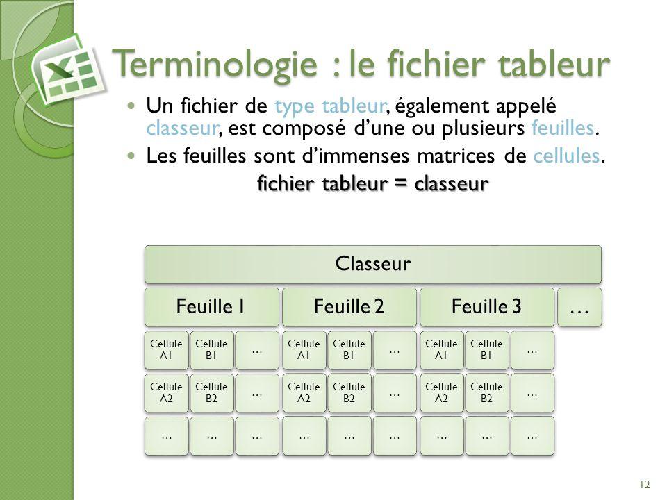 Terminologie : le fichier tableur Un fichier de type tableur, également appelé classeur, est composé dune ou plusieurs feuilles. Les feuilles sont dim