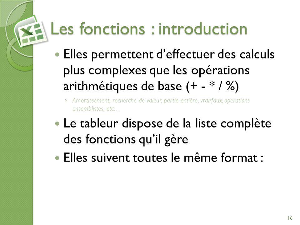Les fonctions : introduction Elles permettent deffectuer des calculs plus complexes que les opérations arithmétiques de base (+ - * / %) Amortissement