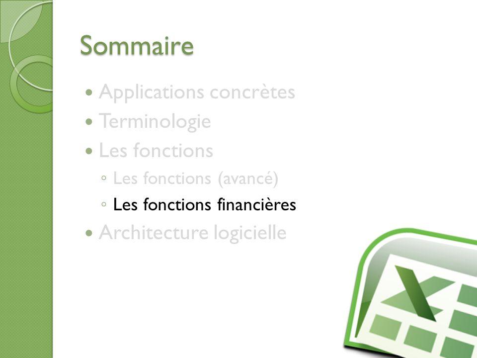 Sommaire Applications concrètes Terminologie Les fonctions Les fonctions (avancé) Les fonctions financières Architecture logicielle 25