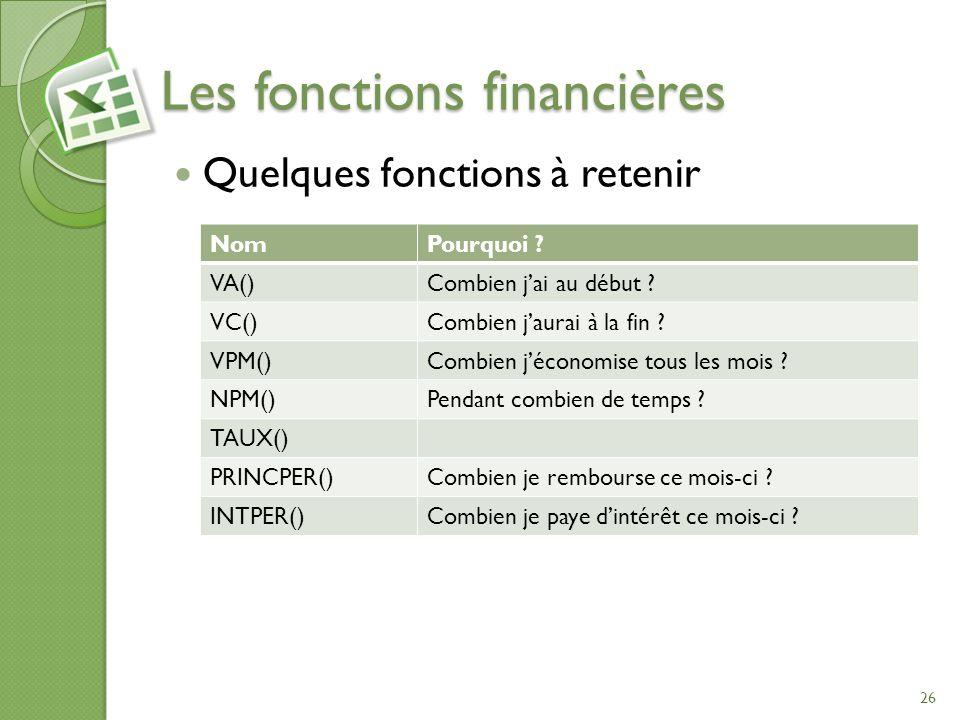 Les fonctions financières Quelques fonctions à retenir 26 NomPourquoi ? VA()Combien jai au début ? VC()Combien jaurai à la fin ? VPM()Combien jéconomi