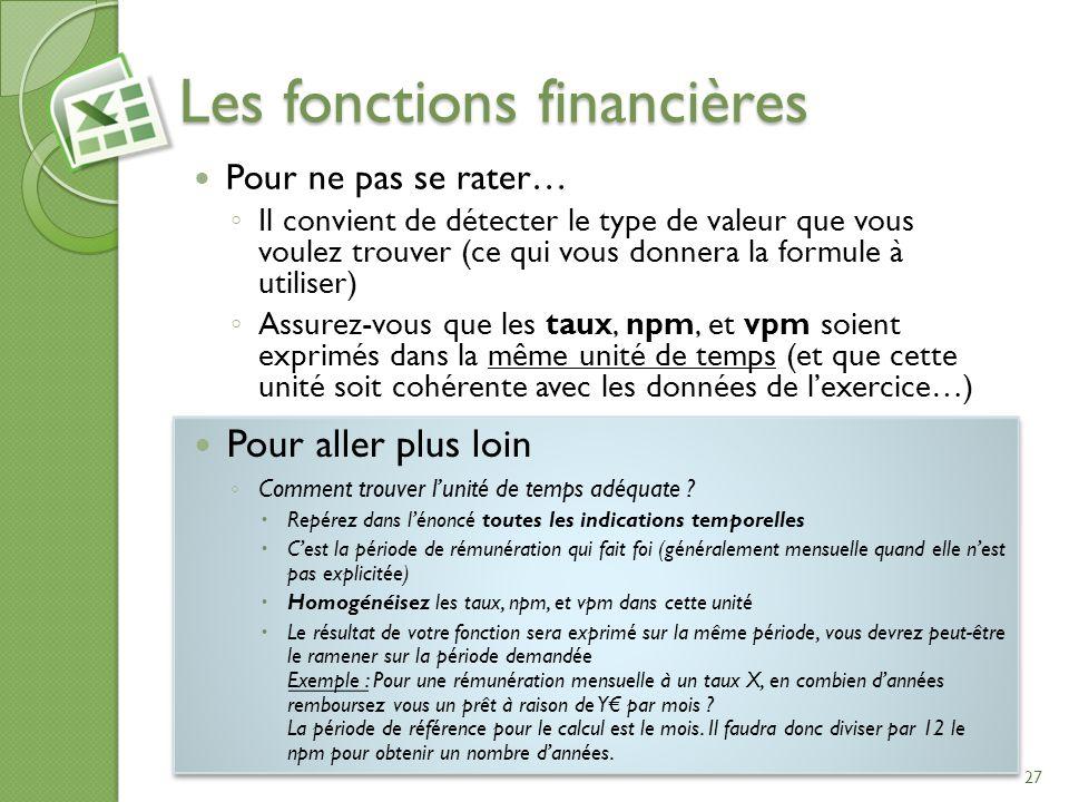 Les fonctions financières Pour ne pas se rater… Il convient de détecter le type de valeur que vous voulez trouver (ce qui vous donnera la formule à ut