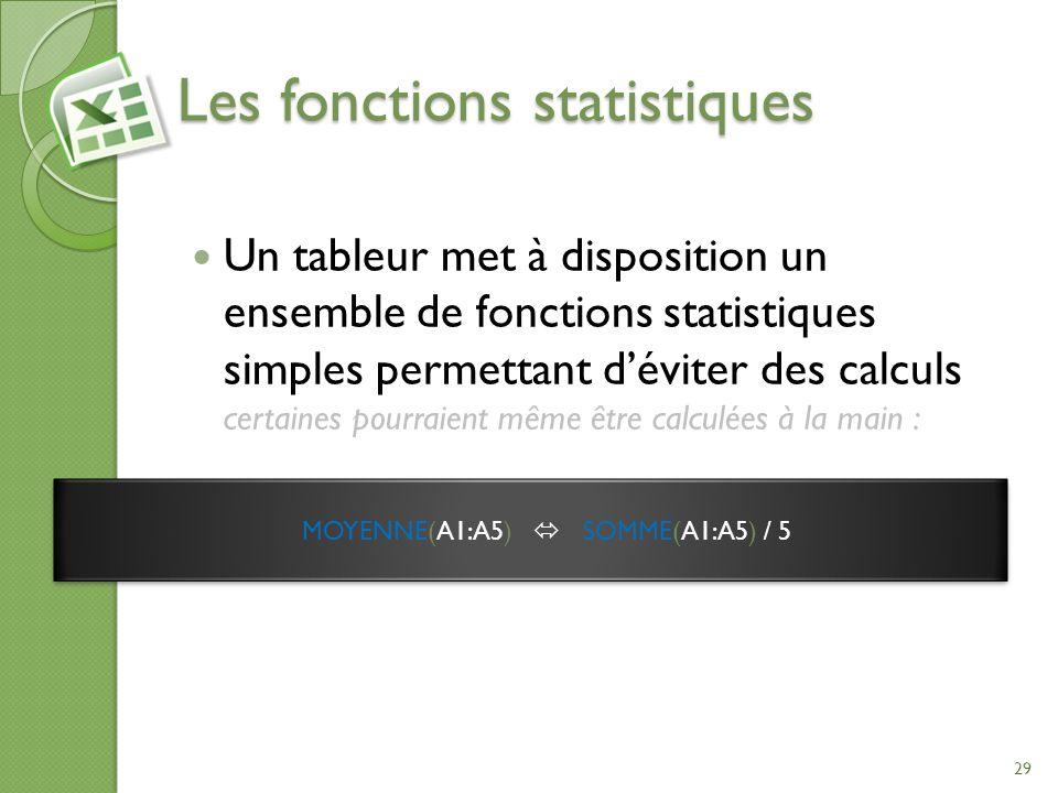 Les fonctions statistiques Un tableur met à disposition un ensemble de fonctions statistiques simples permettant déviter des calculs certaines pourrai