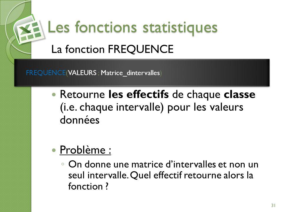 Les fonctions statistiques La fonction FREQUENCE Retourne les effectifs de chaque classe (i.e. chaque intervalle) pour les valeurs données Problème :