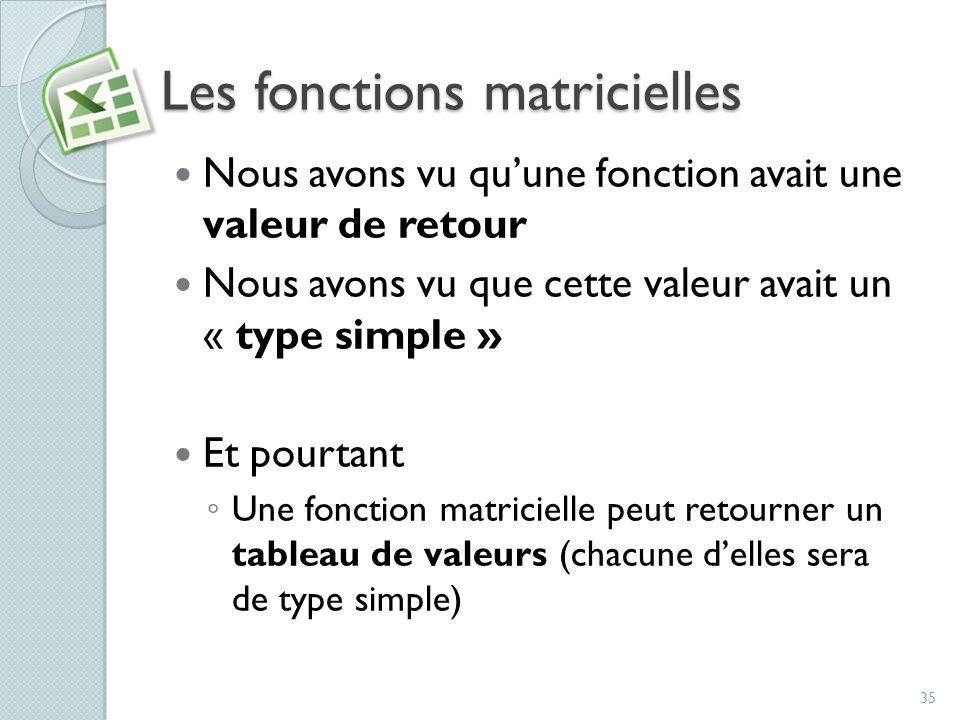 Les fonctions matricielles Nous avons vu quune fonction avait une valeur de retour Nous avons vu que cette valeur avait un « type simple » Et pourtant