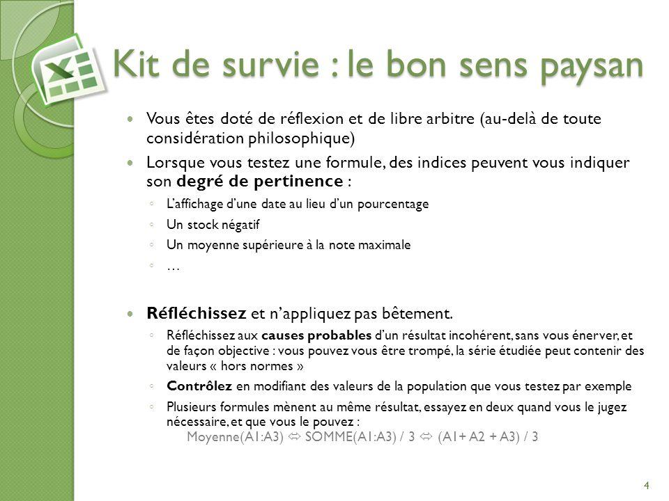 Kit de survie : le bon sens paysan Vous êtes doté de réflexion et de libre arbitre (au-delà de toute considération philosophique) Lorsque vous testez
