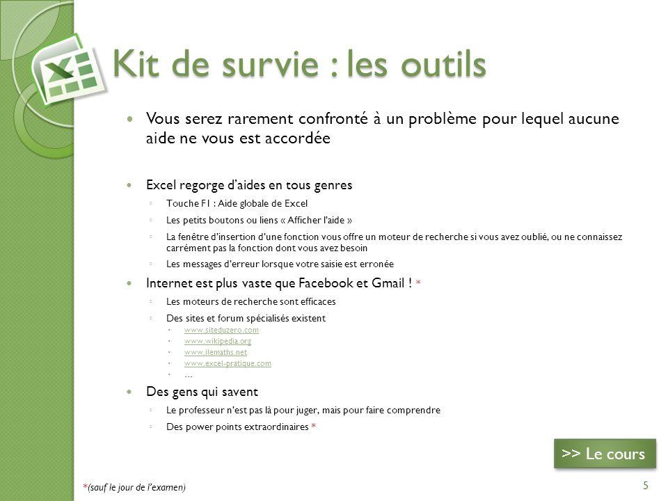Kit de survie : les outils Vous serez rarement confronté à un problème pour lequel aucune aide ne vous est accordée Excel regorge daides en tous genre