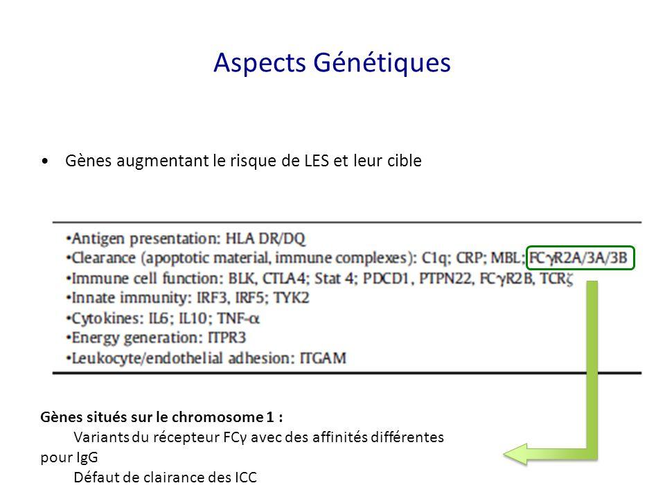 Gènes augmentant le risque de LES et leur cible Gènes situés sur le chromosome 1 : Variants du récepteur FCγ avec des affinités différentes pour IgG Défaut de clairance des ICC Aspects Génétiques