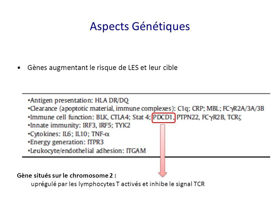 Gènes augmentant le risque de LES et leur cible Gène situés sur le chromosome 2 : uprégulé par les lymphocytes T activés et inhibe le signal TCR Aspects Génétiques