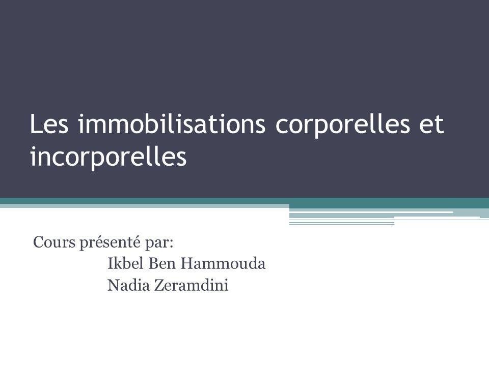 Les immobilisations corporelles et incorporelles Cours présenté par: Ikbel Ben Hammouda Nadia Zeramdini