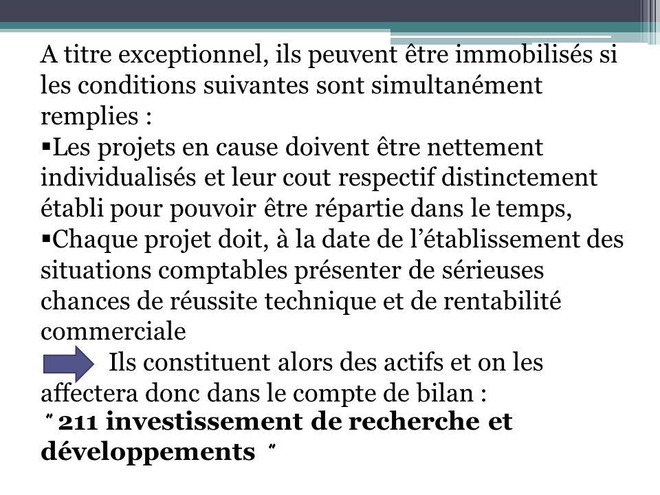 A titre exceptionnel, ils peuvent être immobilisés si les conditions suivantes sont simultanément remplies : Les projets en cause doivent être netteme