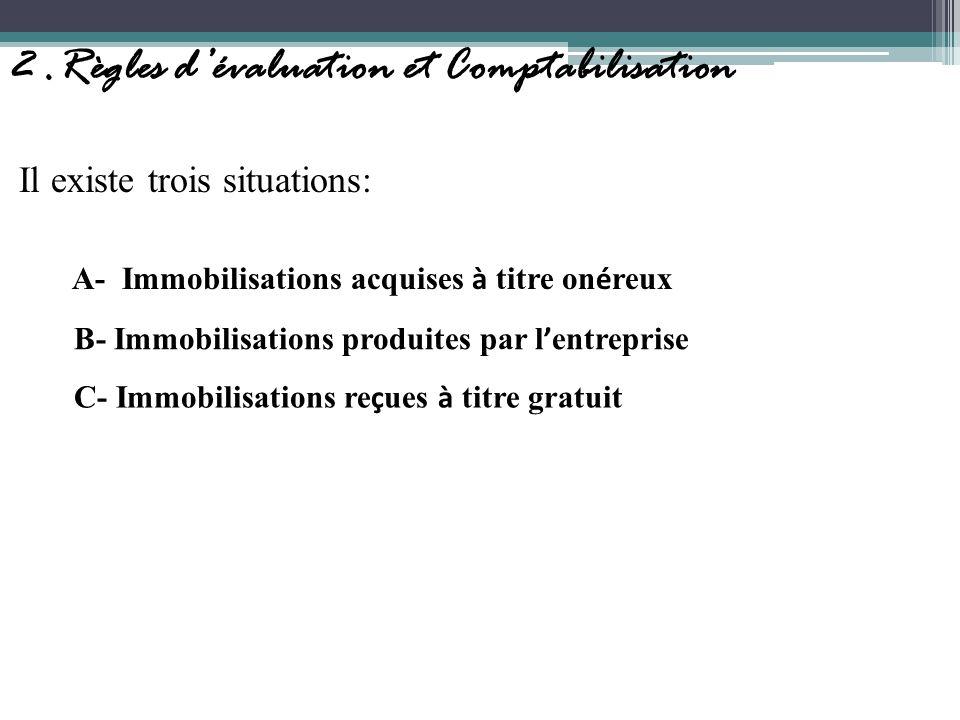 2.Règles dévaluation et Comptabilisation Il existe trois situations: A- Immobilisations acquises à titre on é reux B- Immobilisations produites par l