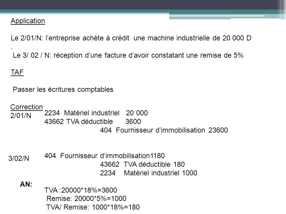 Application Le 2/01/N: lentreprise achète à crédit une machine industrielle de 20 000 D. Le 3/ 02 / N: réception dune facture davoir constatant une re