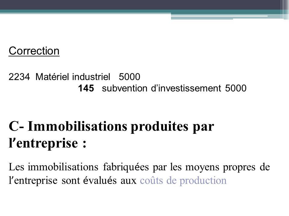 Correction 2234 Matériel industriel 5000 145 subvention dinvestissement 5000 C- Immobilisations produites par l entreprise : Les immobilisations fabri