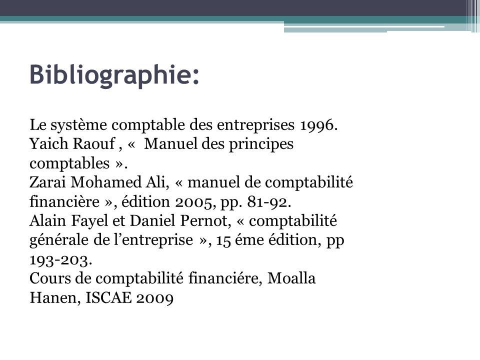 Le système comptable des entreprises 1996. Yaich Raouf, « Manuel des principes comptables ». Zarai Mohamed Ali, « manuel de comptabilité financière »,