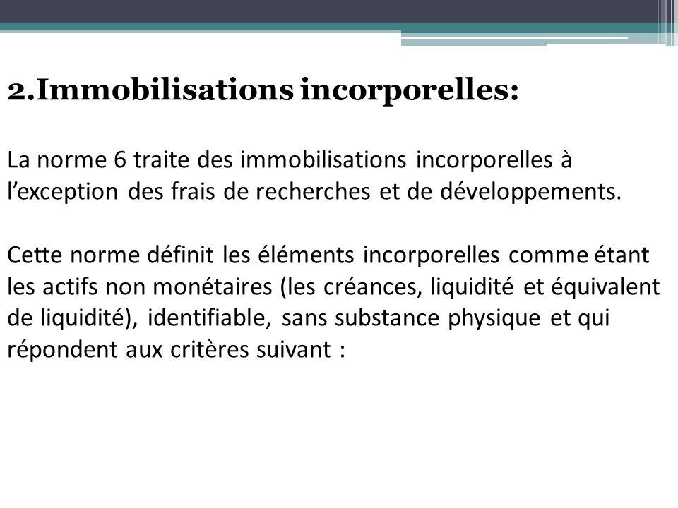 2.Immobilisations incorporelles: La norme 6 traite des immobilisations incorporelles à lexception des frais de recherches et de développements. Cette