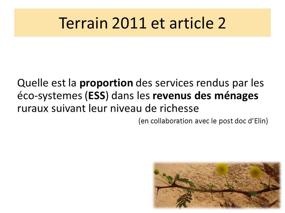Terrain 2011 et article 2 Quelle est la proportion des services rendus par les éco-systemes (ESS) dans les revenus des ménages ruraux suivant leur niveau de richesse (en collaboration avec le post doc dElin)