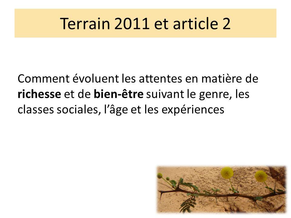 Terrain 2011 et article 2 Comment évoluent les attentes en matière de richesse et de bien-être suivant le genre, les classes sociales, lâge et les expériences