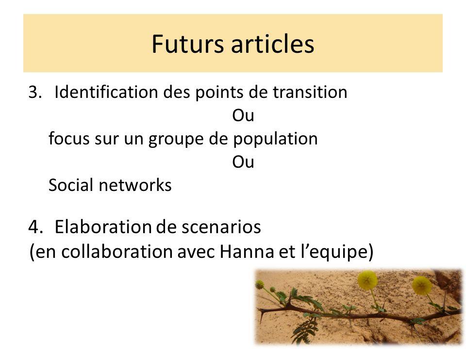 Futurs articles 3.Identification des points de transition Ou focus sur un groupe de population Ou Social networks 4.Elaboration de scenarios (en collaboration avec Hanna et lequipe)