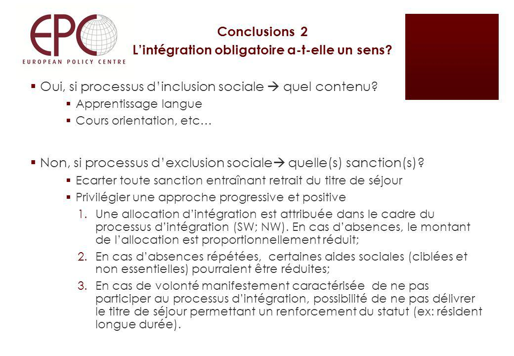 Conclusions 2 Lintégration obligatoire a-t-elle un sens? Oui, si processus dinclusion sociale quel contenu? Apprentissage langue Cours orientation, et