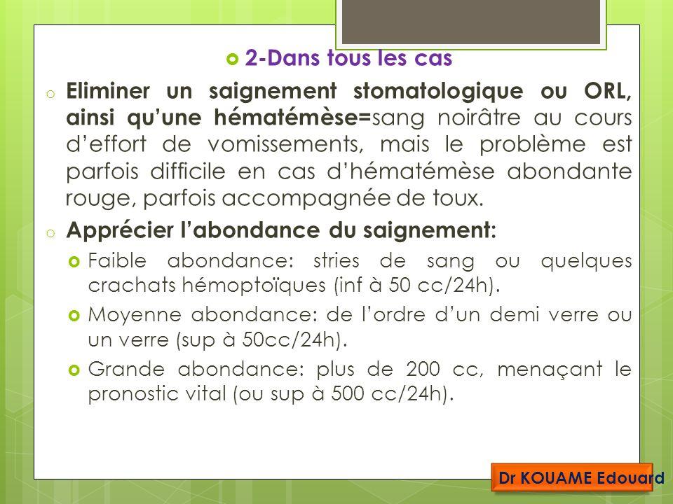 2-Dans tous les cas o Eliminer un saignement stomatologique ou ORL, ainsi quune hématémèse= sang noirâtre au cours deffort de vomissements, mais le problème est parfois difficile en cas dhématémèse abondante rouge, parfois accompagnée de toux.