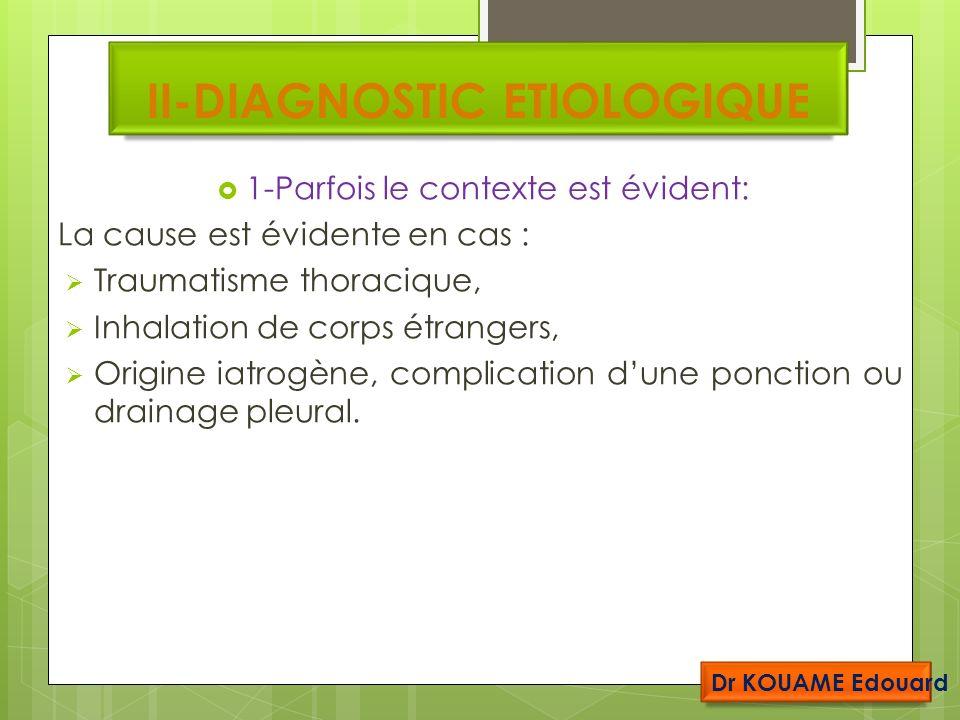 II-DIAGNOSTIC ETIOLOGIQUE 1-Parfois le contexte est évident: La cause est évidente en cas : Traumatisme thoracique, Inhalation de corps étrangers, Origine iatrogène, complication dune ponction ou drainage pleural.
