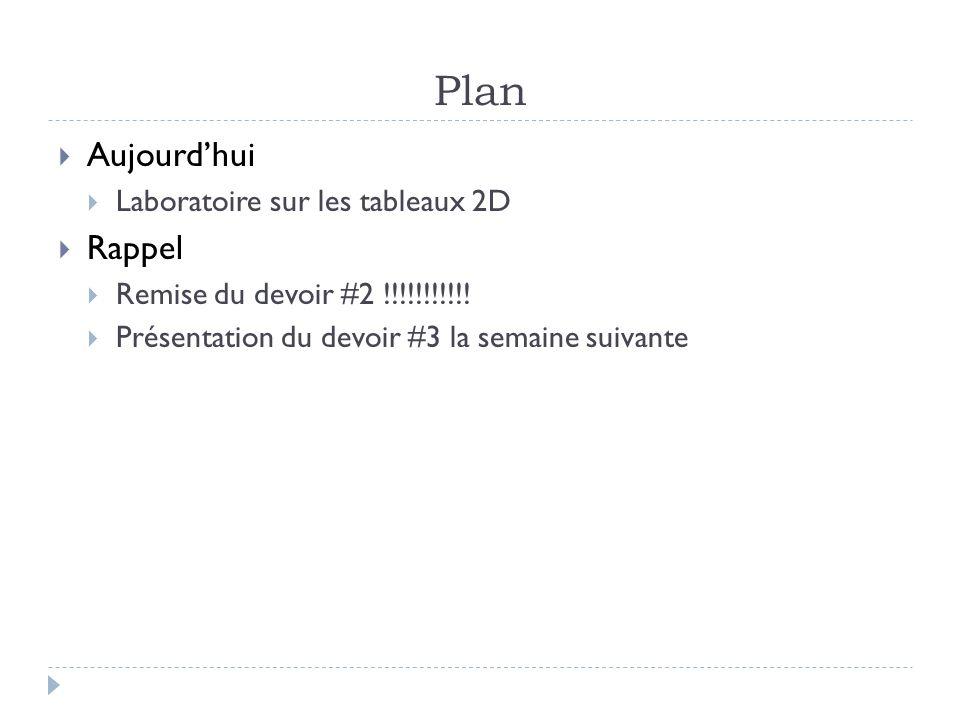Plan Aujourdhui Laboratoire sur les tableaux 2D Rappel Remise du devoir #2 !!!!!!!!!!! Présentation du devoir #3 la semaine suivante