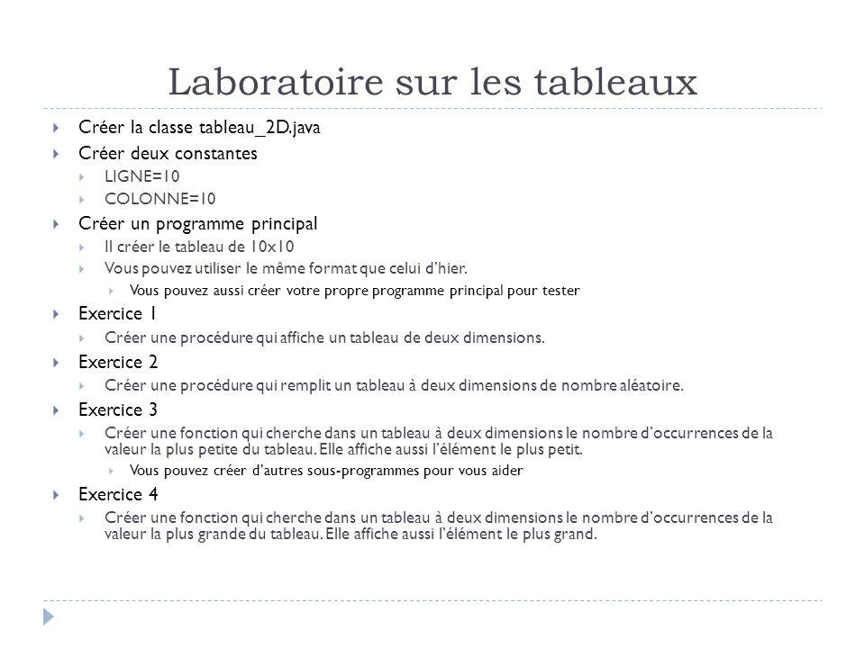 Laboratoire sur les tableaux Créer la classe tableau_2D.java Créer deux constantes LIGNE=10 COLONNE=10 Créer un programme principal Il créer le tablea