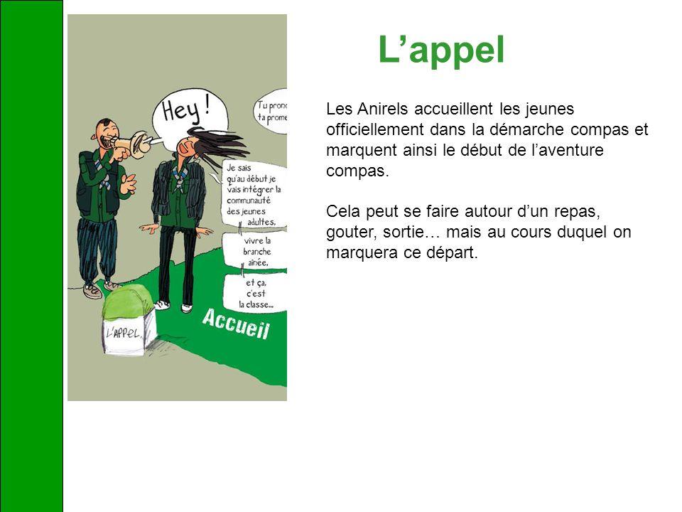Lappel Les Anirels accueillent les jeunes officiellement dans la démarche compas et marquent ainsi le début de laventure compas. Cela peut se faire au