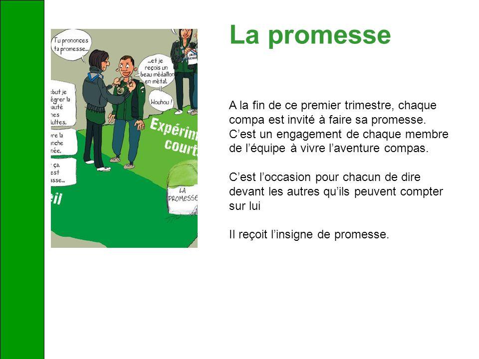 La promesse A la fin de ce premier trimestre, chaque compa est invité à faire sa promesse. Cest un engagement de chaque membre de léquipe à vivre lave