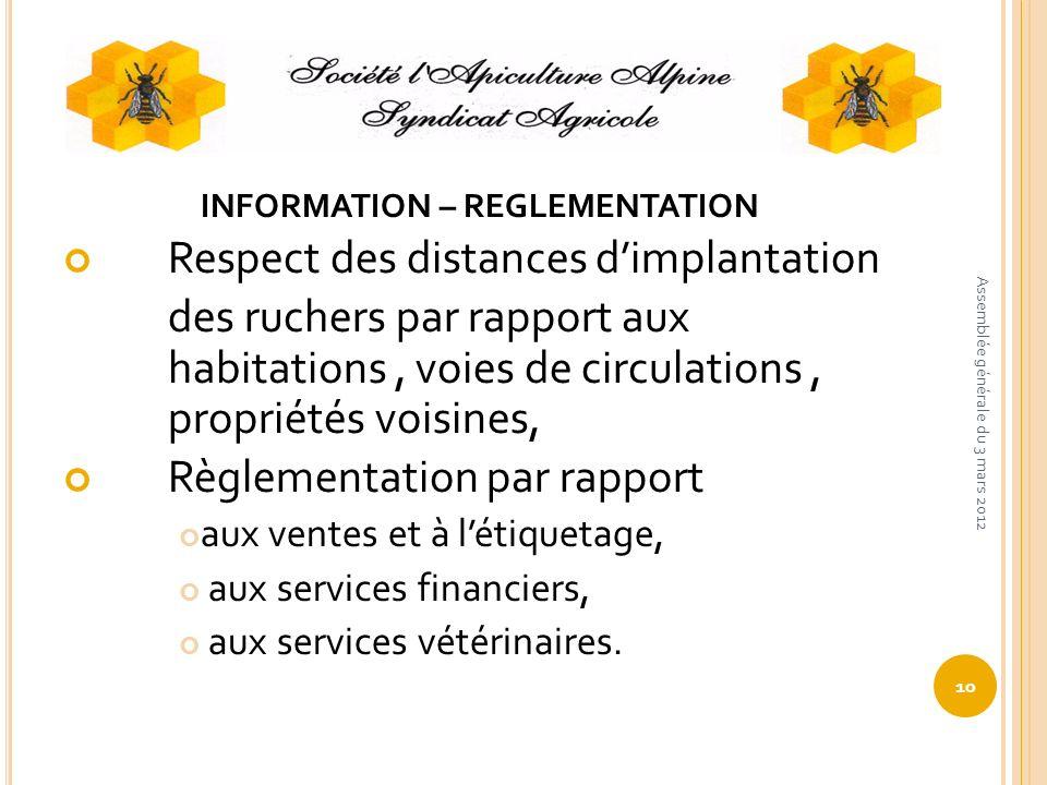 INFORMATION – REGLEMENTATION Respect des distances dimplantation des ruchers par rapport aux habitations, voies de circulations, propriétés voisines,