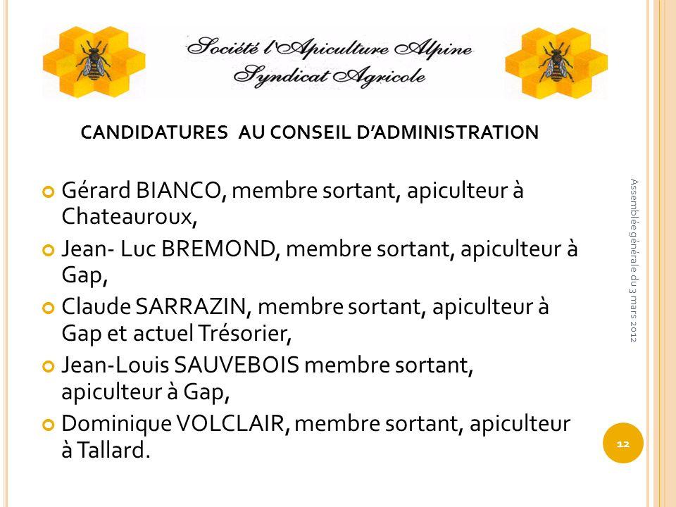 CANDIDATURES AU CONSEIL DADMINISTRATION Gérard BIANCO, membre sortant, apiculteur à Chateauroux, Jean- Luc BREMOND, membre sortant, apiculteur à Gap,