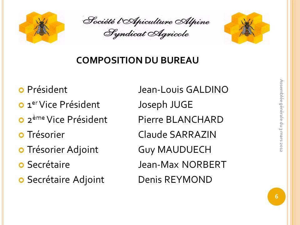 COMPOSITION DU BUREAU Président Jean-Louis GALDINO 1 er Vice PrésidentJoseph JUGE 2 ème Vice PrésidentPierre BLANCHARD TrésorierClaude SARRAZIN Trésor