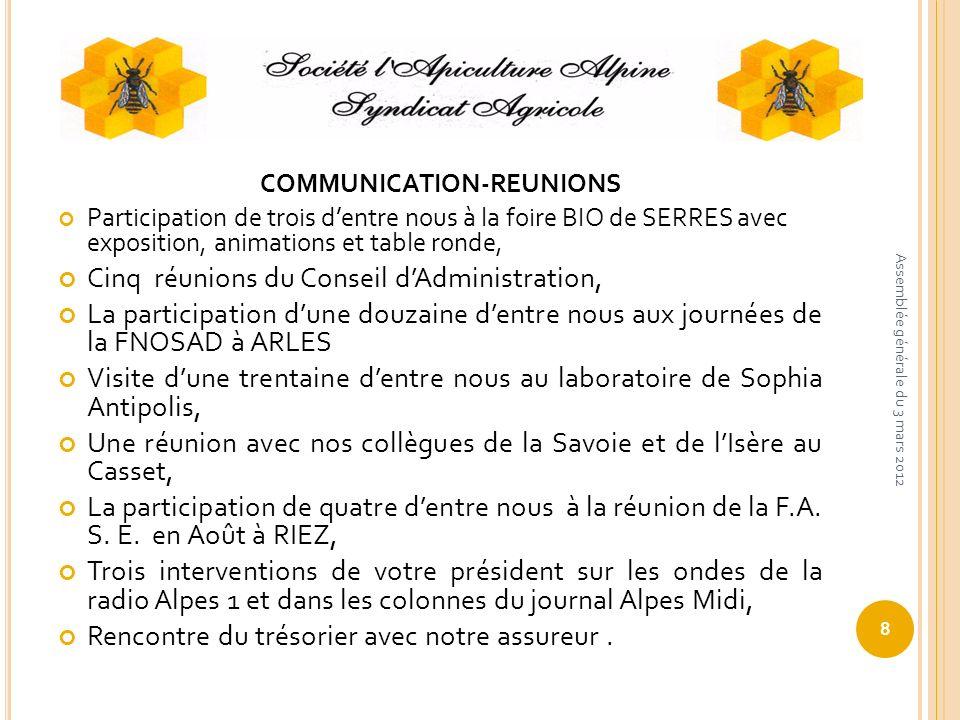 COMMUNICATION-REUNIONS Participation de trois dentre nous à la foire BIO de SERRES avec exposition, animations et table ronde, Cinq réunions du Consei