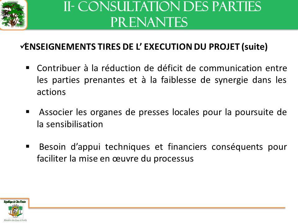 ENSEIGNEMENTS TIRES DE L EXECUTION DU PROJET (suite) Contribuer à la réduction de déficit de communication entre les parties prenantes et à la faiblesse de synergie dans les actions Associer les organes de presses locales pour la poursuite de la sensibilisation Besoin dappui techniques et financiers conséquents pour faciliter la mise en œuvre du processus II- CONSULTATION DES PARTIES PRENANTES II- CONSULTATION DES PARTIES PRENANTES