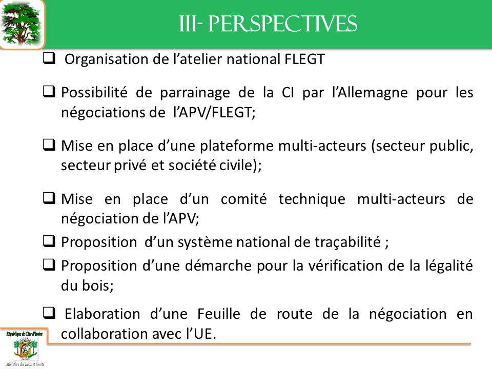 III- PERSPECTIVES III- PERSPECTIVES Organisation de latelier national FLEGT Possibilité de parrainage de la CI par lAllemagne pour les négociations de lAPV/FLEGT; Mise en place dune plateforme multi-acteurs (secteur public, secteur privé et société civile); Mise en place dun comité technique multi-acteurs de négociation de lAPV; Proposition dun système national de traçabilité ; Proposition dune démarche pour la vérification de la légalité du bois; Elaboration dune Feuille de route de la négociation en collaboration avec lUE.