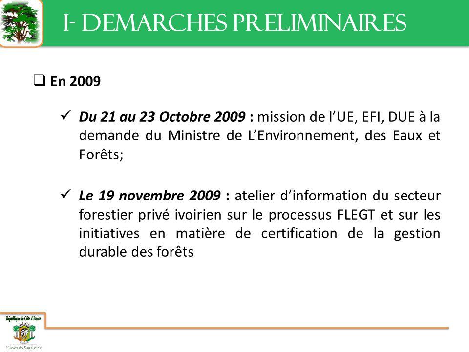 En 2009 Du 21 au 23 Octobre 2009 : mission de lUE, EFI, DUE à la demande du Ministre de LEnvironnement, des Eaux et Forêts; Le 19 novembre 2009 : atelier dinformation du secteur forestier privé ivoirien sur le processus FLEGT et sur les initiatives en matière de certification de la gestion durable des forêts I- DEMARCHES PRELIMINAIRES