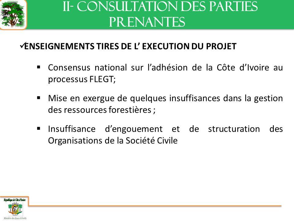 ENSEIGNEMENTS TIRES DE L EXECUTION DU PROJET Consensus national sur ladhésion de la Côte dIvoire au processus FLEGT; Mise en exergue de quelques insuffisances dans la gestion des ressources forestières ; Insuffisance dengouement et de structuration des Organisations de la Société Civile II- CONSULTATION DES PARTIES PRENANTES II- CONSULTATION DES PARTIES PRENANTES