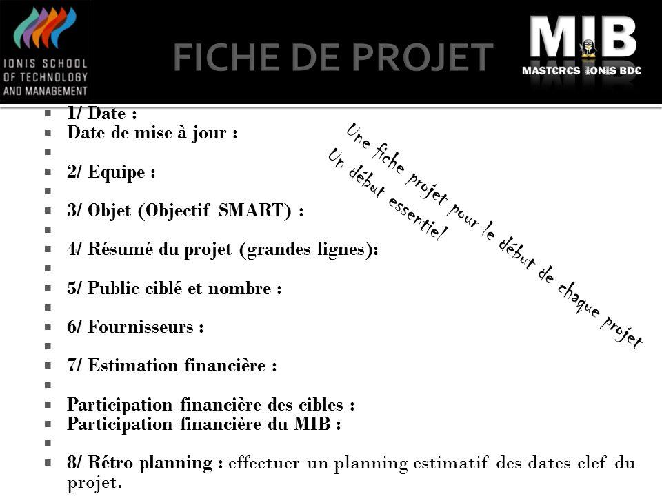 1/ Date : Date de mise à jour : 2/ Equipe : 3/ Objet (Objectif SMART) : 4/ Résumé du projet (grandes lignes): 5/ Public ciblé et nombre : 6/ Fournisse