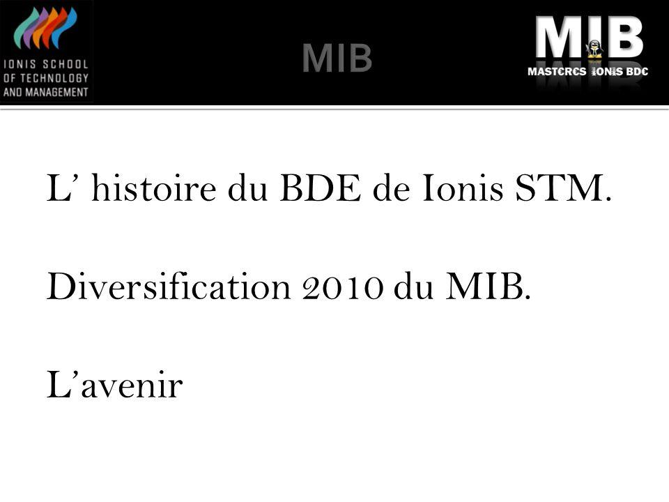 L histoire du BDE de Ionis STM. Diversification 2010 du MIB. Lavenir