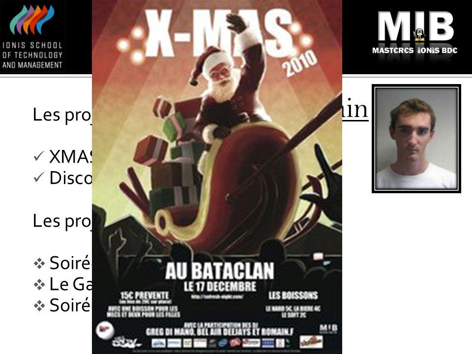 Romain Les projets en cours: XMAS 2010 Discothèque MIX Les projets intéressants: Soirée Erasmus / Ionis STM Le Gala de fin dannée Soirées du week-end
