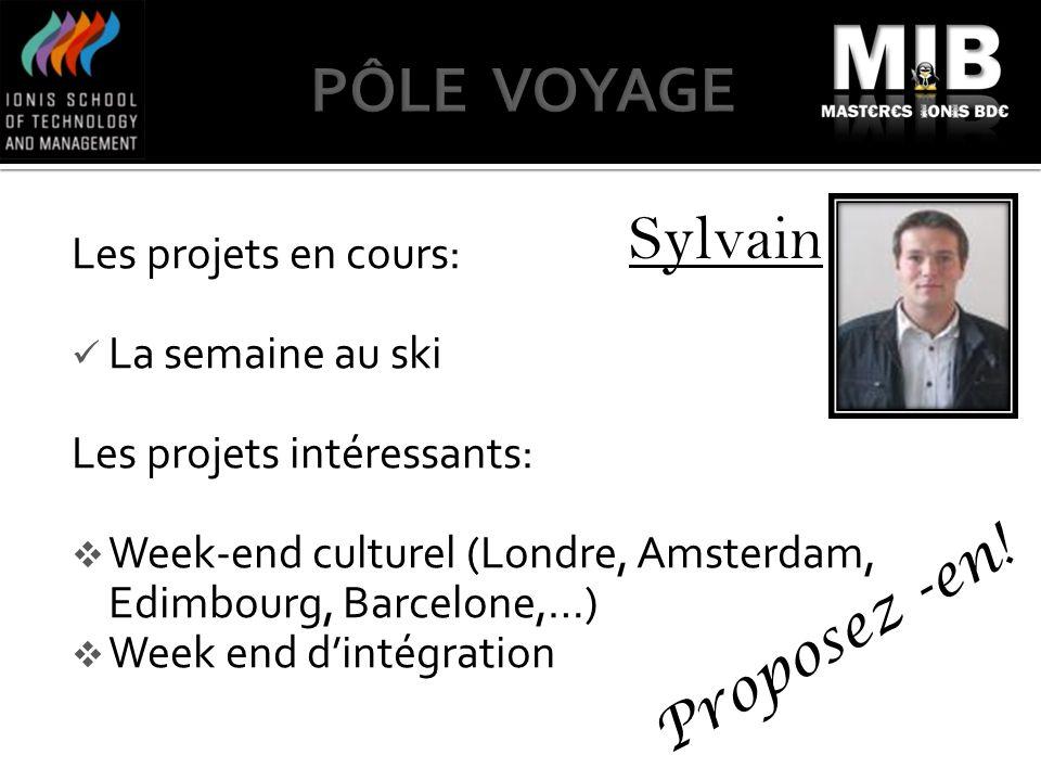 Sylvain Les projets en cours: La semaine au ski Les projets intéressants: Week-end culturel (Londre, Amsterdam, Edimbourg, Barcelone,…) Week end dinté