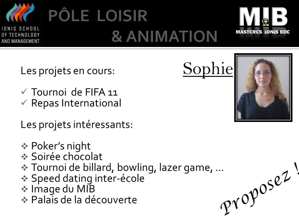 Sophie Les projets en cours: Tournoi de FIFA 11 Repas International Les projets intéressants: Pokers night Soirée chocolat Tournoi de billard, bowling