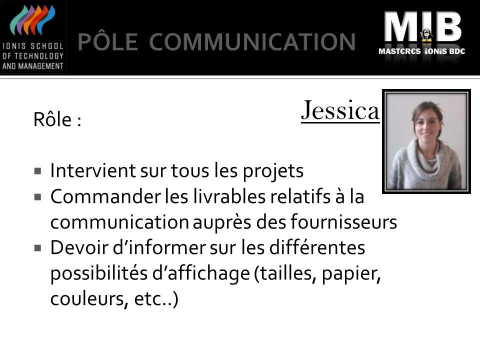 Jessica Rôle : Intervient sur tous les projets Commander les livrables relatifs à la communication auprès des fournisseurs Devoir dinformer sur les di