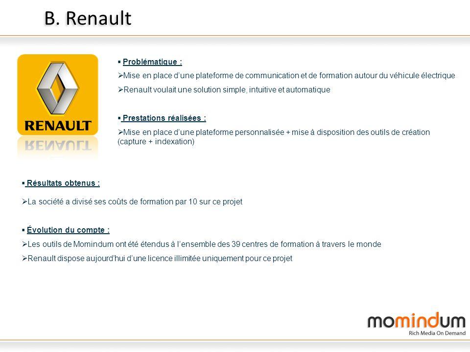 B. Renault Problématique : Mise en place dune plateforme de communication et de formation autour du véhicule électrique Renault voulait une solution s