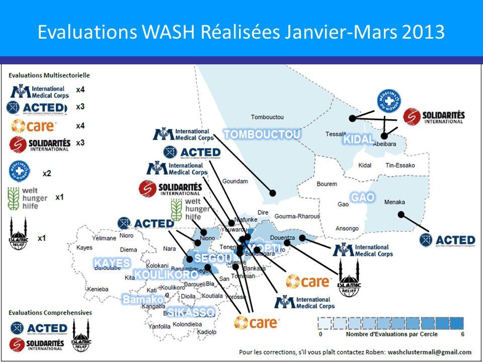 Evaluations WASH Réalisées Janvier-Mars 2013 10