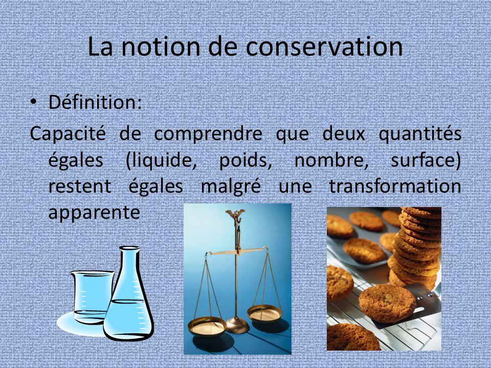 La notion de conservation Définition: Capacité de comprendre que deux quantités égales (liquide, poids, nombre, surface) restent égales malgré une transformation apparente