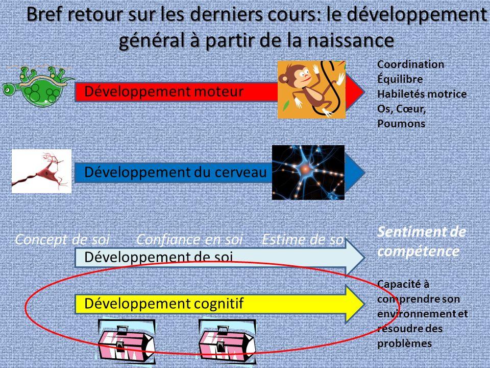 Développement cognitif 2 à (5-7) ans (Stade préopératoire) Développement cognitif 2 à (5-7) ans (Stade préopératoire) Permet de - Comprendre son environnement - Résoudre des problèmes - Imitation différée… -Apparition du langage Permanence de lobjet Représenta- tions mentales concrètes Représentations mentales symboliques/ abstraites 2 ans et +